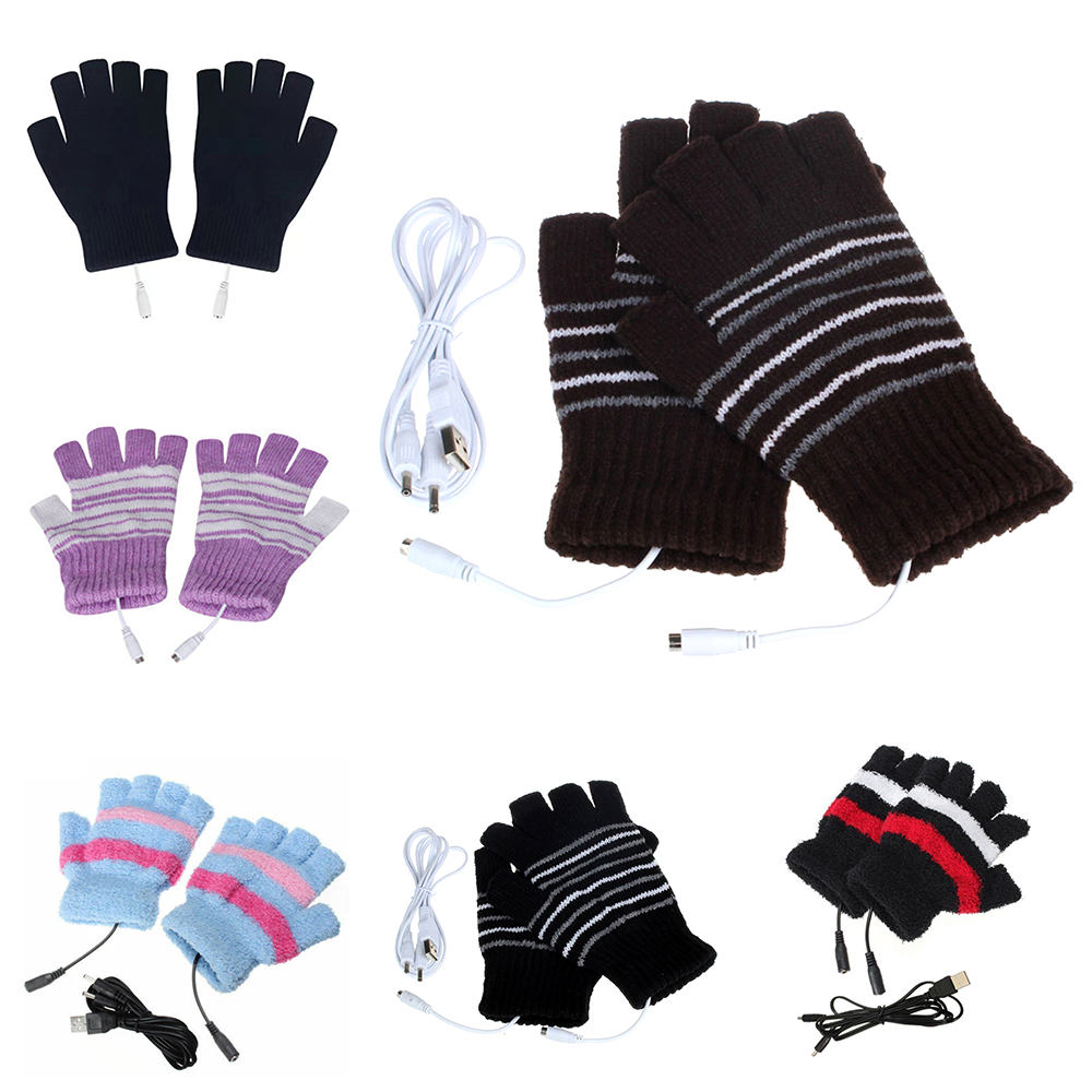 5V Knitted Heating Gloves Battery Powered For Heated Gloves Hunting Motocross Winter Gloves For USB Gloves Motorbike Motorcycle