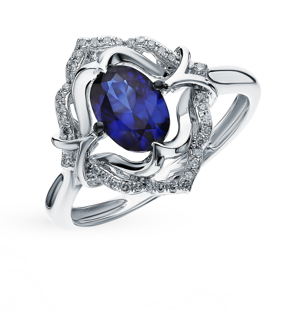 Gold Ring With Sapphires And Diamonds Sunlight Sample 585