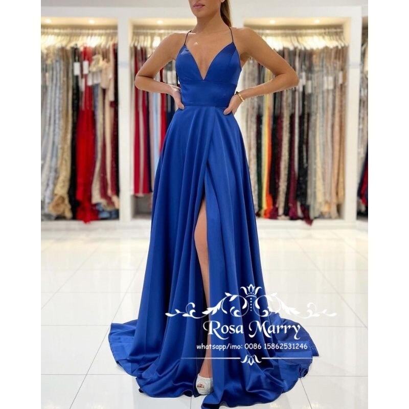 Sexy Backless Plus Size Prom Dresses for Women Party 2021 Royal Blue High Split Cheap Simple Satin Vestido De Fiesta Longo