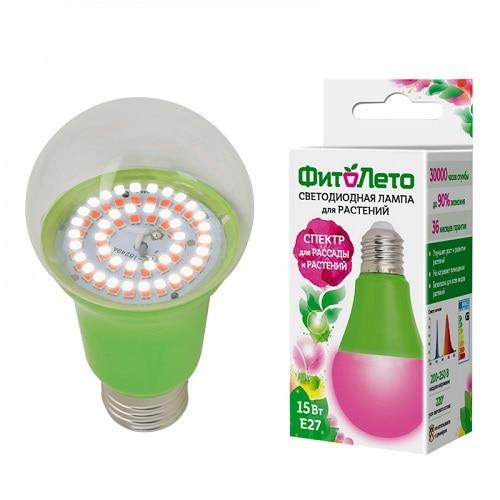 Phyto Lamp E27 For Seedling Purple LED-A60-15W/SPSB/E27/CL PLP30GR