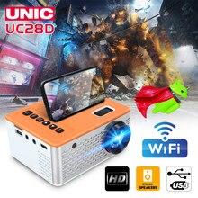 Unic uc28d mini projetor led portátil casa usb telefone móvel 10 ansi 480*272 cartão tf av 5v 2a u disco dvd caixa de tv 3.5mm navio rápido