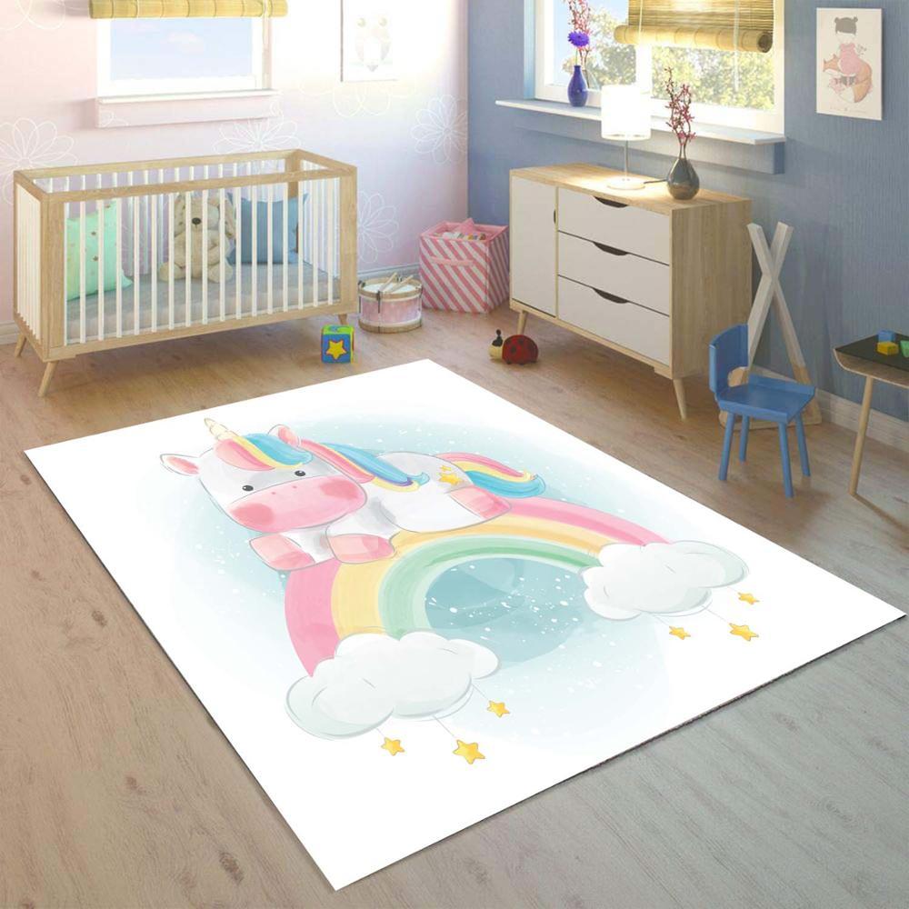 Else Colored Unicorn Horses On Rainbow 3d Print Non Slip Microfiber Children Kids Room Decorative Area Rug Kids  Mat