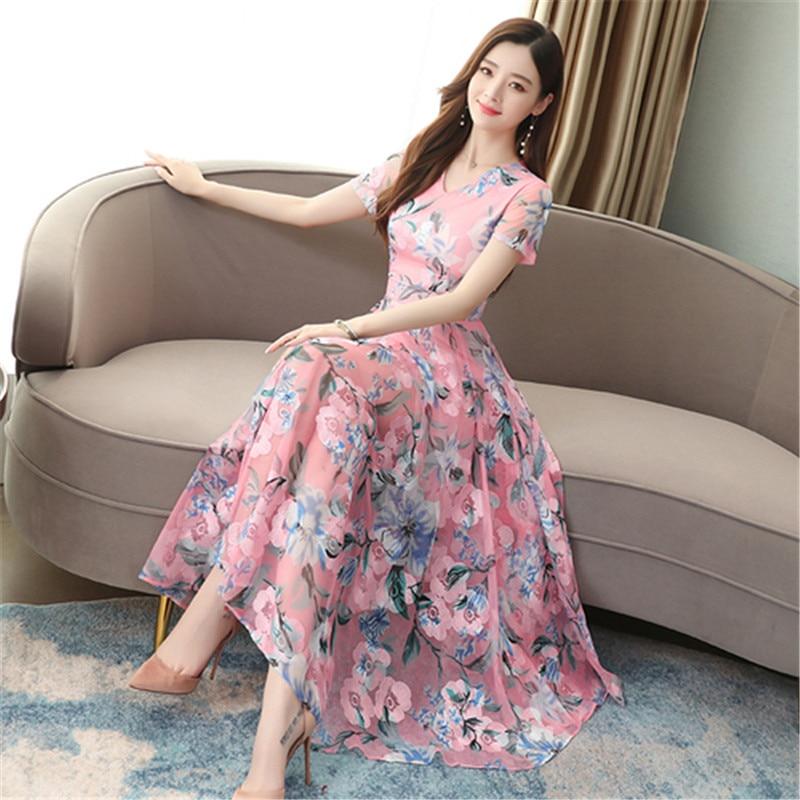 Real Shot Printed Dress 2020 Summer New Short-sleeved V-neck Mesh Splicing Slim Was Thin Temperament Long Dress