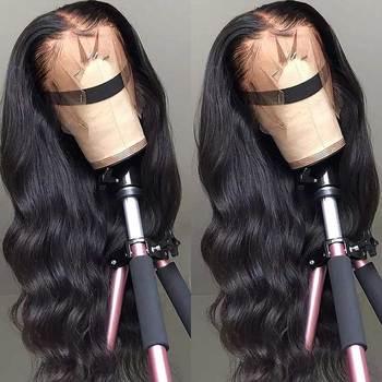 Koronkowe peruki z ludzkich włosów Transparent HD koronkowe peruki z przodu 180 200 gęstość koronkowa peruka na przód Remy 13x4 brazylijska peruka Body Wave