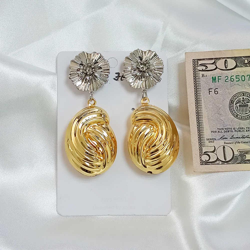 2020 Trendy ZA oro Ciondola Gli Orecchini Delle Donne di Alta Qualità di Fascino Dichiarazione Orecchini a pendaglio Di Natale Dei Monili 2 tono