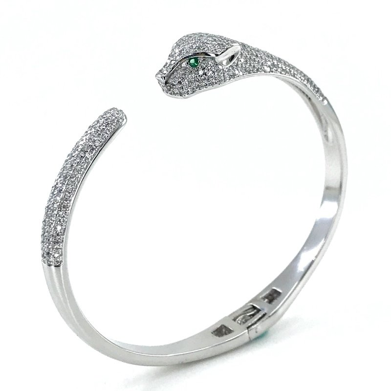 Diamond Workmanship Special Quality Panther Bracelet Silver Bracelet