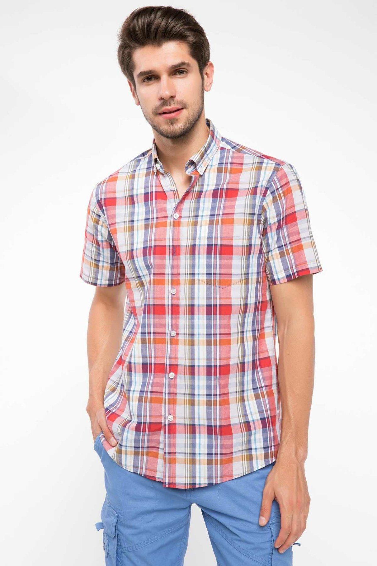 DeFacto Men Summer Woven Top Short Sleeve Shirts Casual Plaid Shirts Male Red Grid Shirt Top Cloth  I7814AZ18SMRD283-I7814AZ18SM