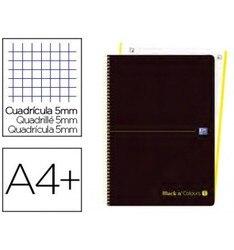 Спиральная записная книжка OXFORD EBOOK 1 пластиковая крышка DIN A4 + 80 H сетка 5 мм BLACK'N цвета Лайм 5 шт