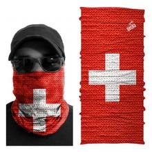 Motorcycle Rider Headwear Buff Bandana Multiscarf Swiss Flag Colors