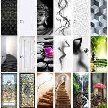 Door-Sticker Decal Self-Adhesive Geometric Vinyl Stair-Pattern Home-Decor Retro Waterproof