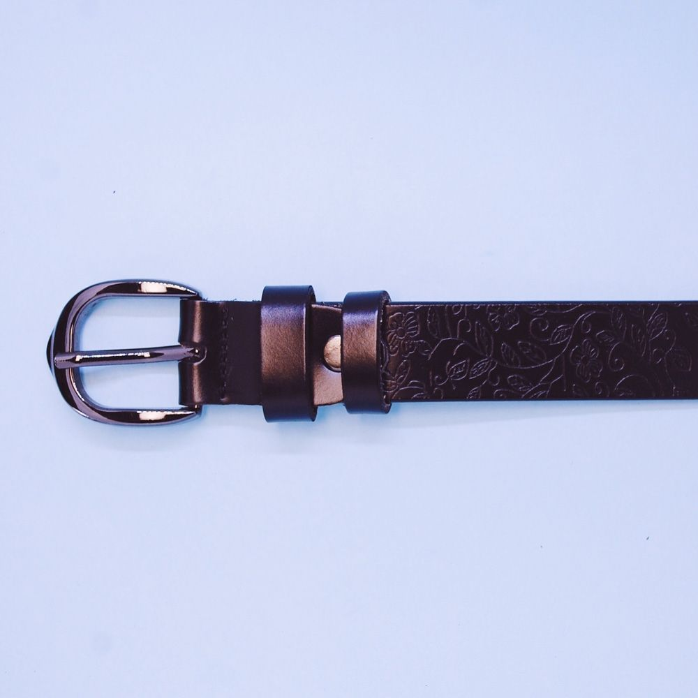 Ceinture femme (2.5 cm, cuir véritable, dessin, noir) 52992