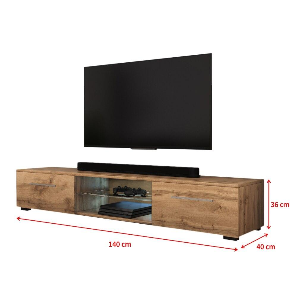 SYVIS - Meuble tv / Banc tv (chêne wotan, 140 cm, éclairage LED) 4