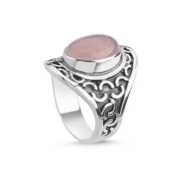 Silver 925 Sterling Pink Quartz Stone Handwork Ring