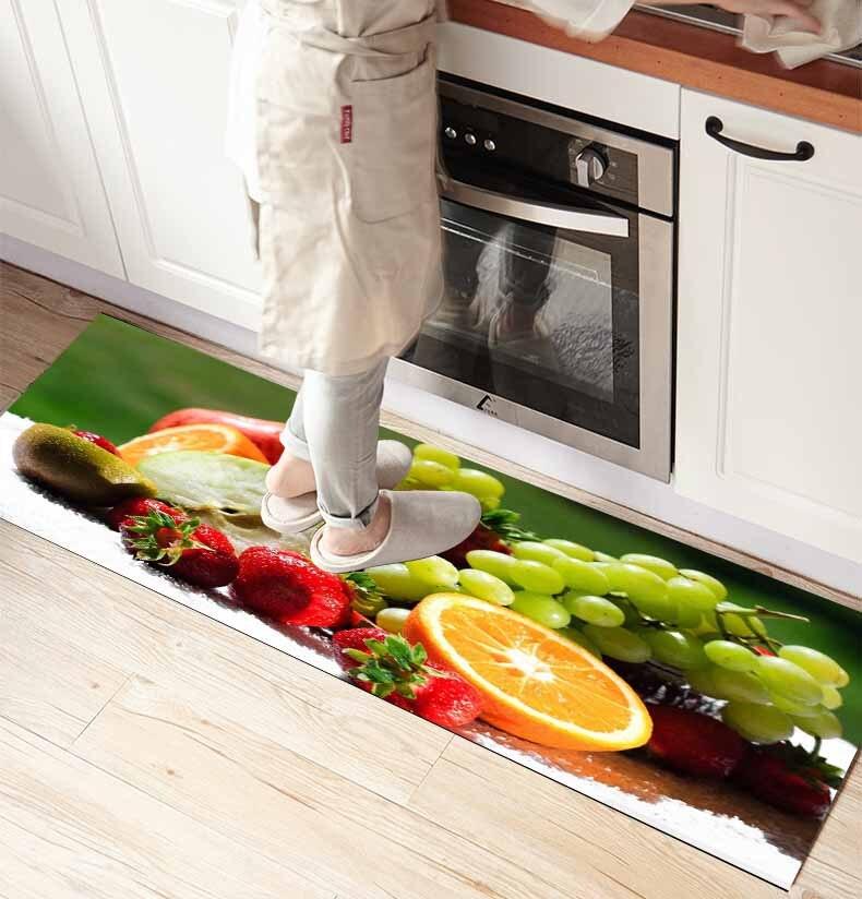 Else Orange Grapes Fruits 3d Print Non Slip Microfiber Kitchen Counter Modern Decorative Washable Area Rug Mat