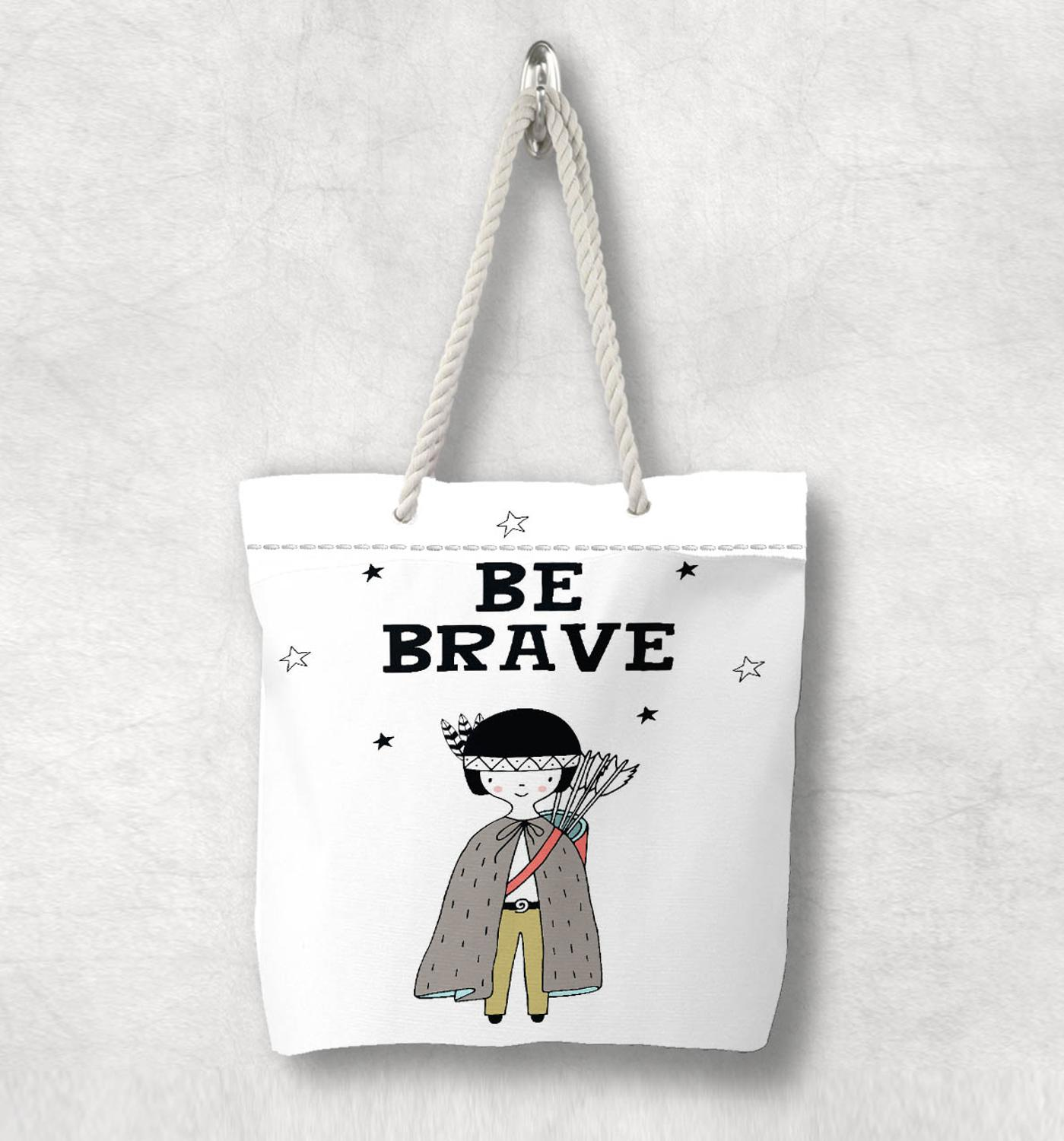 Else Bohemian Be Brave Boy Prince Nordic Scandinavian White Rope Handle Canvas Bag  Cartoon Print Zippered Tote Bag Shoulder Bag