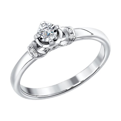 Engagement Ring. White Gold With Diamonds