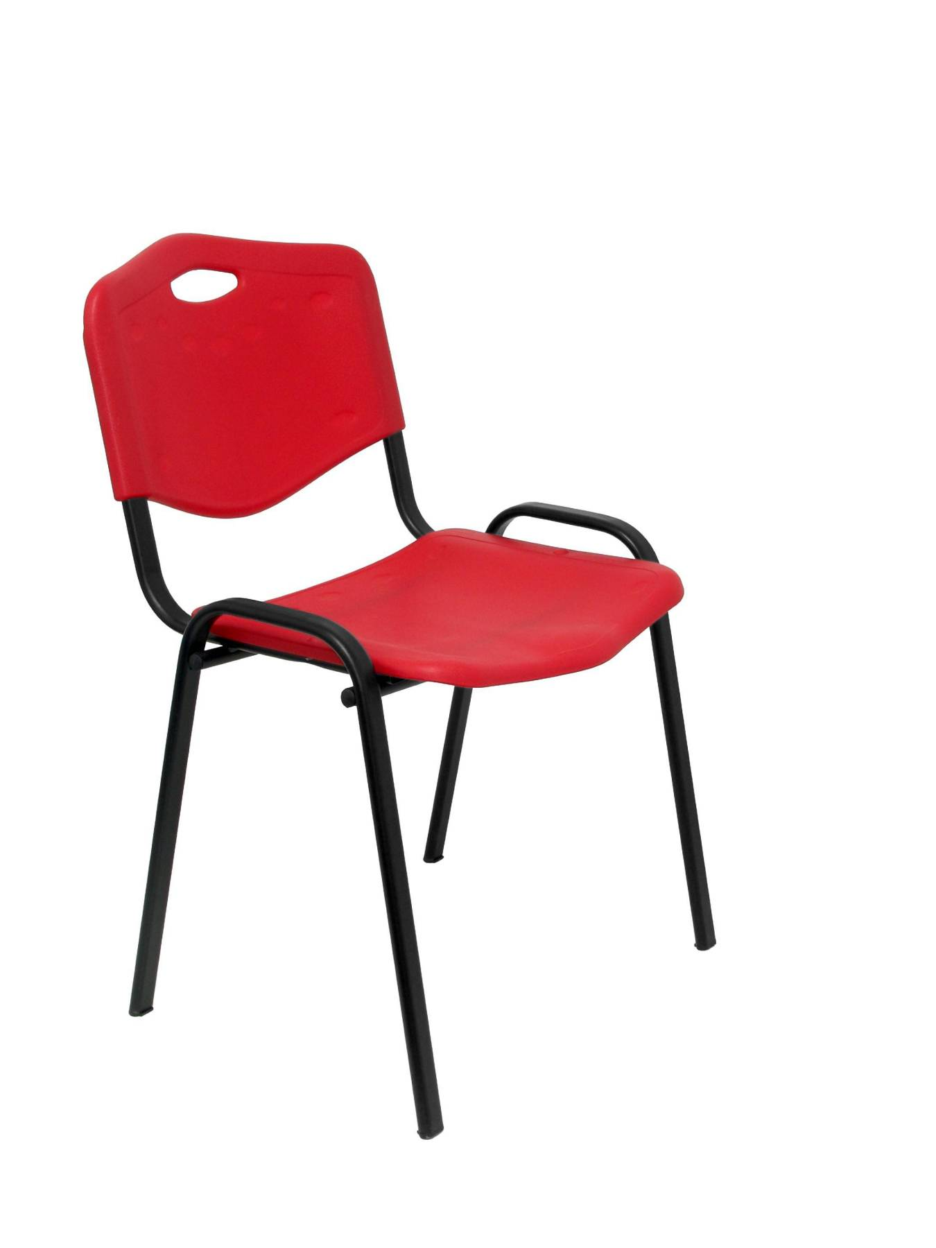 Visitor Chair Desk Ergonomic, Stackable, Multipurpose And Structure In Black Color Up Seat And Backstop PVC Red Color (WITH