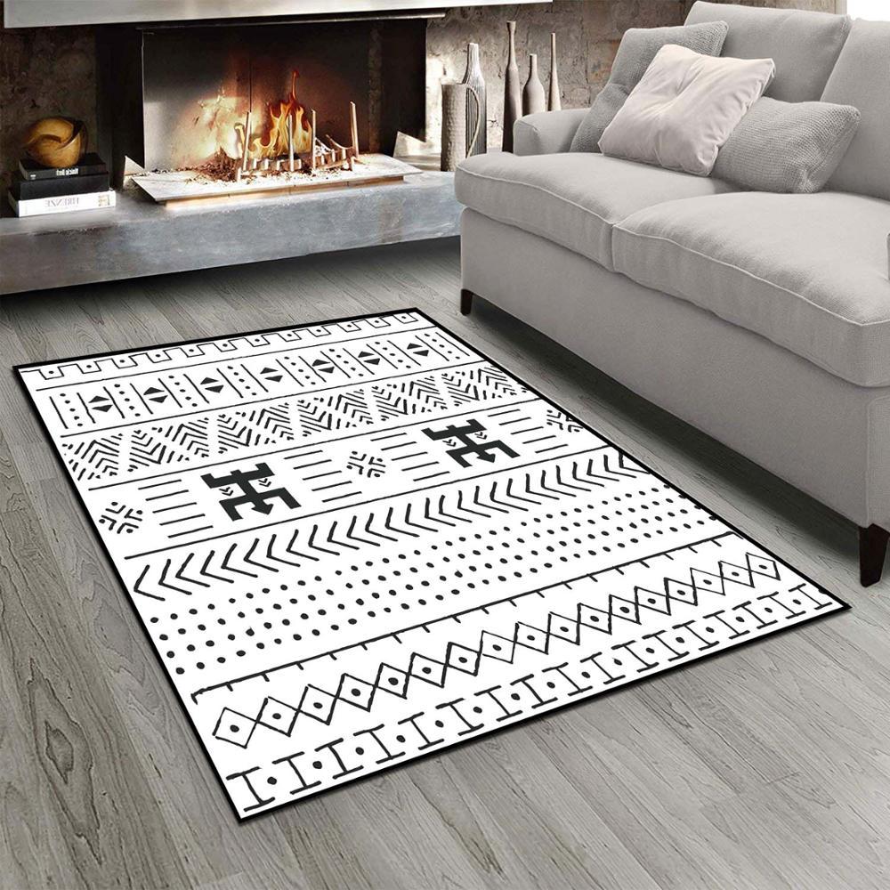 Else Black White Geometric Ethnic Bohemian 3d Print Non Slip Microfiber Living Room Modern Carpet Washable Area Rug Mat