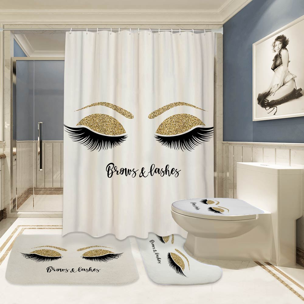 Eyelashes Print Bathroom Curtain Set With 12PCS Plastic Hooks For With Toilet Seat Cover 3