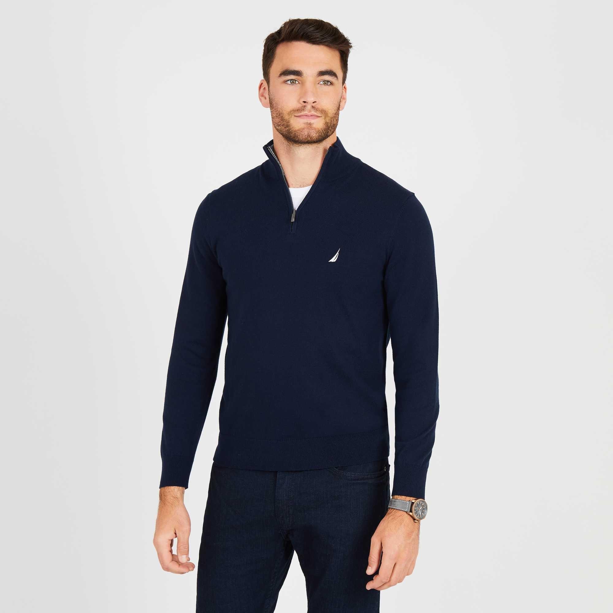 Nautica Jersey Men With Zipper Length Chest Logo Cotton Navy Blue S83104.4NV