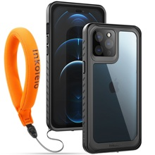 Inkolelo for iPhone 12 Pro Max Waterproof Case Built-in Screen Protector Shockproof Full Body Cover Rugged Case Black/Clear