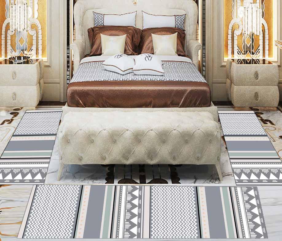 Else 3 Piece Grey White Green Geometric Lines 3d Print Non Slip Microfiber Washable Decor Bedroom Hallway Area Rug Carpet Set