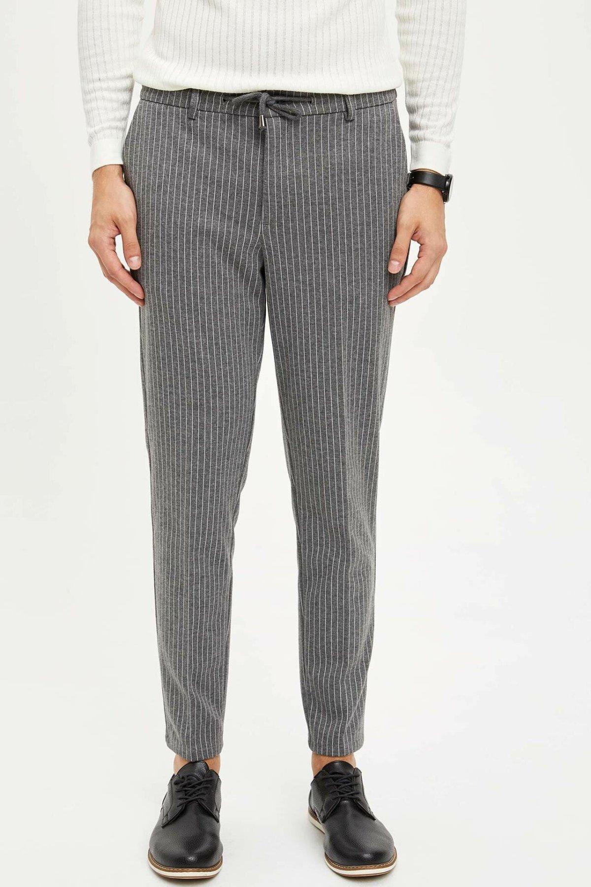 DeFacto Man Formal Drawstring Trousers Casual Striped Straight Loose Pants For Men's High Quality Long Pants Men - L6655AZ19AU