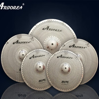 Arborea silver color low volume mute quite silent cymbal set 14\