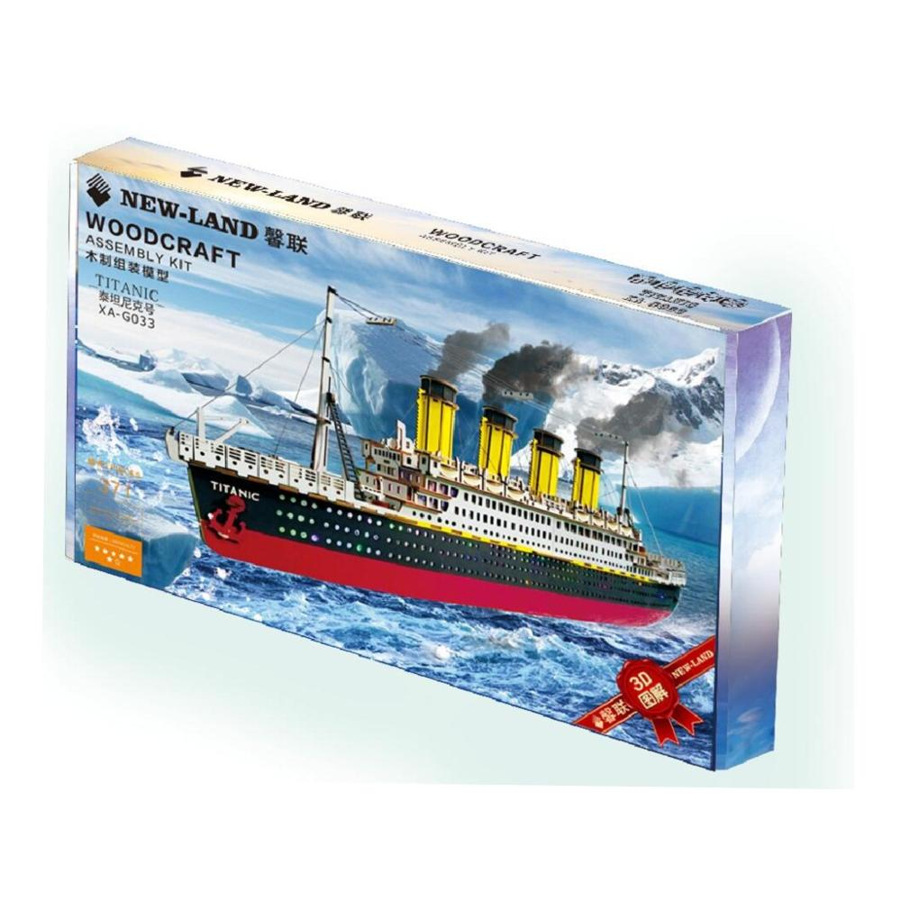 DIY dreidimensionale jigsaw puzzle junge DIY handgemachte spielzeug holz puzzle Titanic farbe box 3D modell - 2