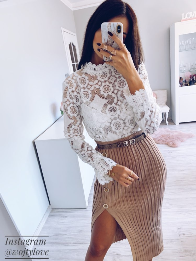 Elegant White Lace Blouse Shirt Sexy Hollow Out Embroidery Feminine Blouse Women Long Lantern Sleeve Summer Tops Female photo review