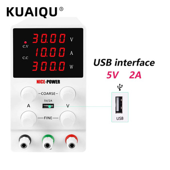 KUAIQU 30V 10A 4 Digits White Black LAB DC Switching Power Supply 60V 5A Adjustable Source Voltage And Current Stabilizer image