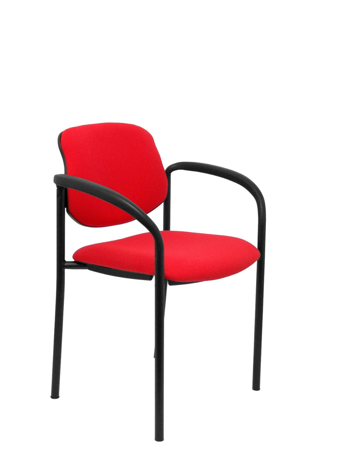 Visitor Chair 4's Topsy, With Arms And Estructrua Negro-up Seat And Backstop Upholstered In BALI Tissue Red Color PIQU