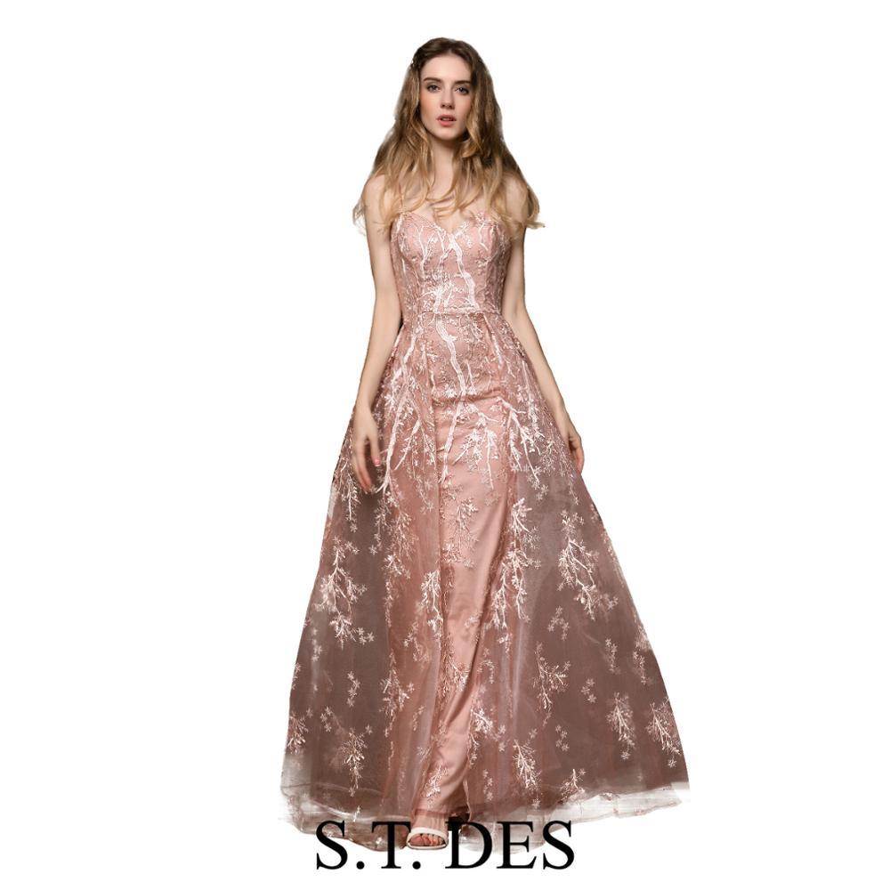 NEW 2020 St.Des A-line V-neck Russian Pink Spaghetti Strap Designer Brilliant Elegant Floor Length Evening Dress Party Dress