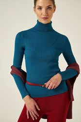 Joinus Knitted Jumper With Roll Neck Woman Petrol Color
