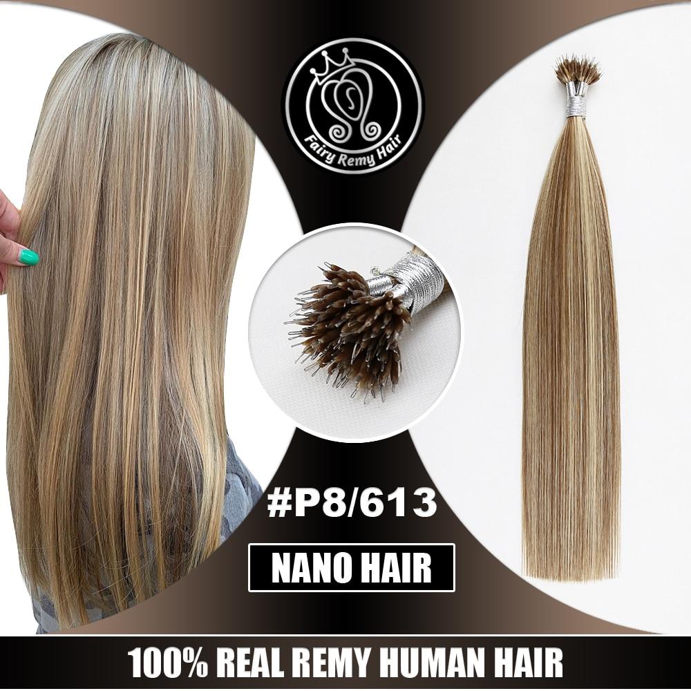 Human-Hair-Extensions Nano-Ring Russian-Hair Micro-Beads Pre-Bonded P8/613 Hightlights