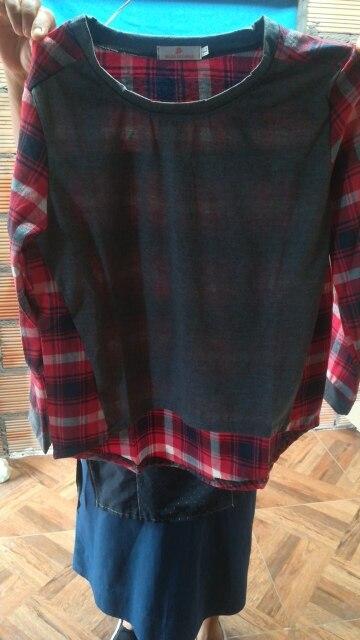 T-shirt Women O Collar Splicing Lattice photo review