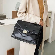 Sac à bandoulière en cuir noir de luxe pour femmes, sac à bandoulière de qualité, grande capacité, sac à chaîne rétro
