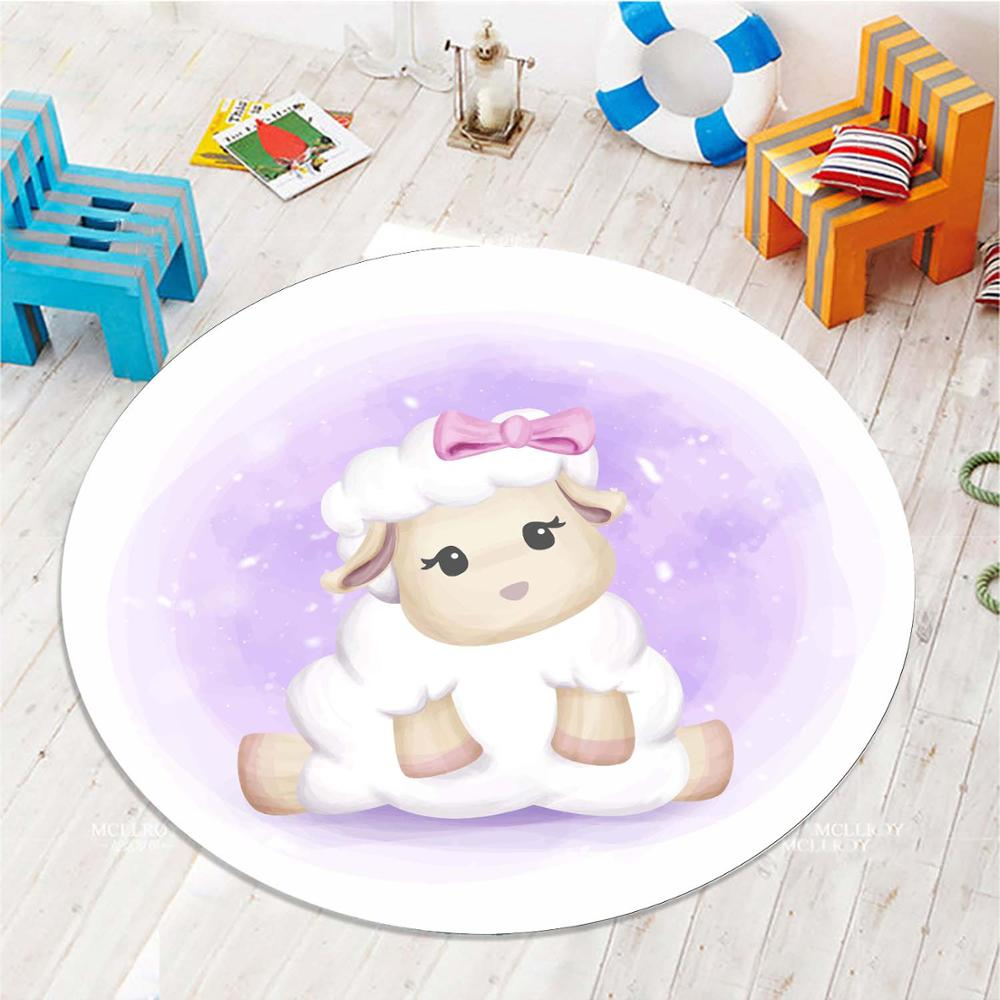 Else Little Cute Sweet Lamb 3d Pattern Print Anti Slip Back Round Carpets Area Round Rug For Kids Baby Children Room