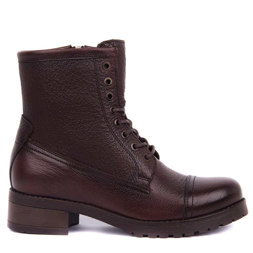 Sail Lakers-Brown Lady Zipper Leather Boots