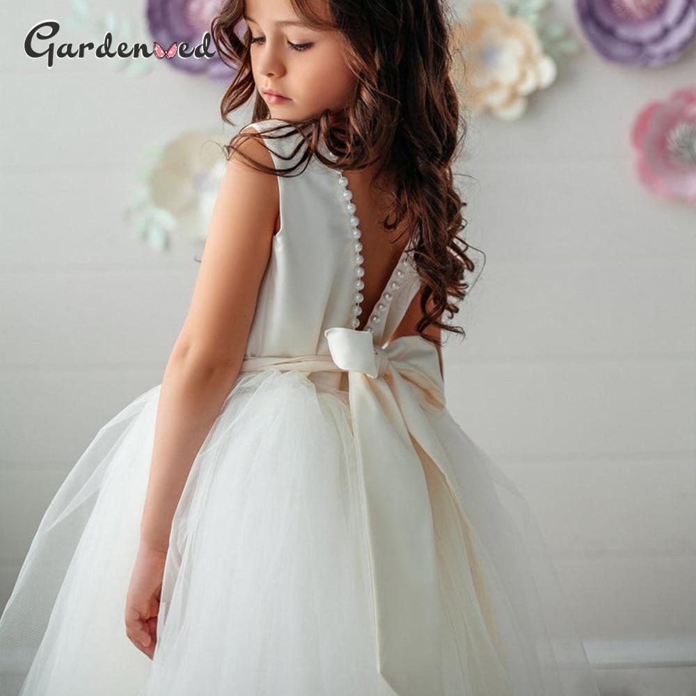 Kids Champagne Puffy Flower Girl Dress Pearls  Beadings Bow First Communion Dresses Tulle Sashes Kids Little Bride Dresses