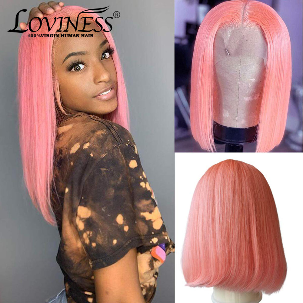 Blonde Short Bob Wigs Highlight Straight Lace Front Human Hair Wigs T part Lace Bob Wig Pre Plucked Brazilian Hair Lace Wig