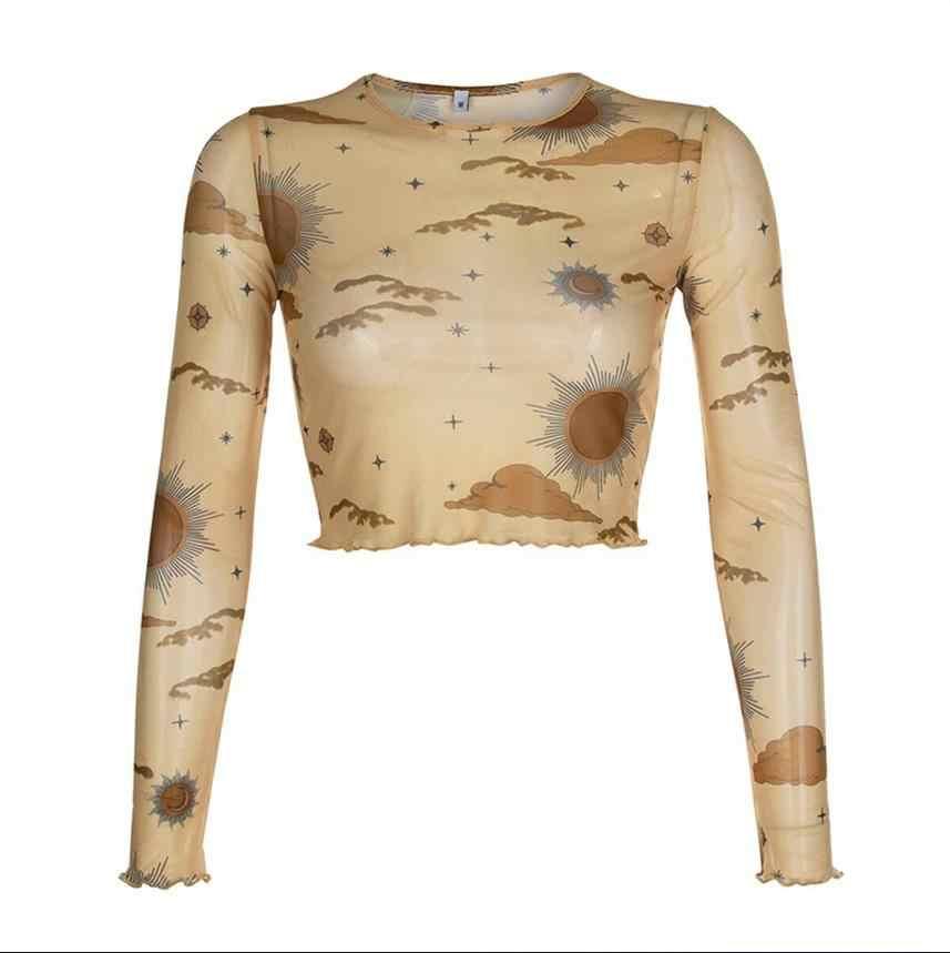 우아한 여성 긴 소매 꽃 깎아 지른 메쉬 탑 커버 튜닉 셔츠 패션 캐주얼 섹시 슬림 인쇄 하단 시스루 블라우스