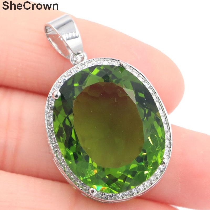 25x20mm Big Oval Gemstone 22x18mm Created Green Peridot White CZ Gift For Ladies Silver Pendant