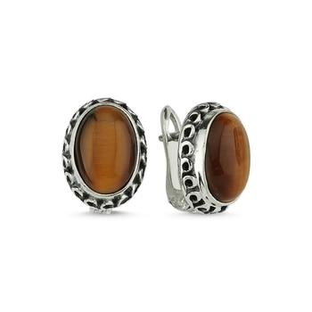 Silver 925 Sterling Tiger Eye Stone Hand Handwork Earrings