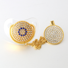1 PC Glam Crystal Clear Bling Pacifier Silk Shimmer Clip Set Luxury Dummy Soother Chain