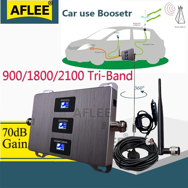 ¡Uso en el coche! Amplificador celular 4g 900 1800, repetidor de señal tribanda para teléfono móvil, repetidor GSM DCS 2G WCDMA 3G 4G, amplificador de señal