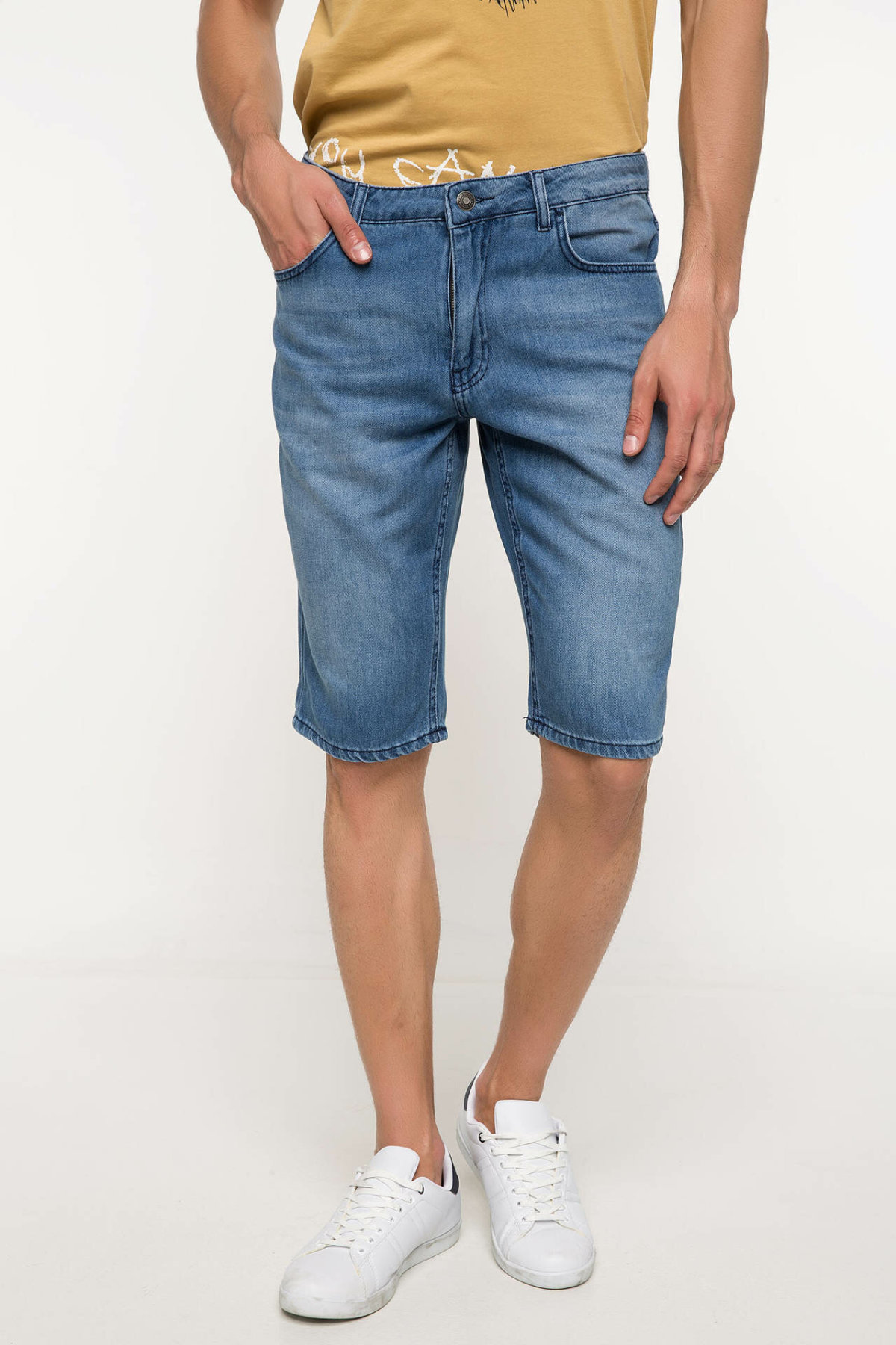 DeFacto Man Summer Skinny Blue Denim Shorts Men Casual Slim Fit Shorts Male Bermuda Denim Short Bottoms-I8791AZ18SM