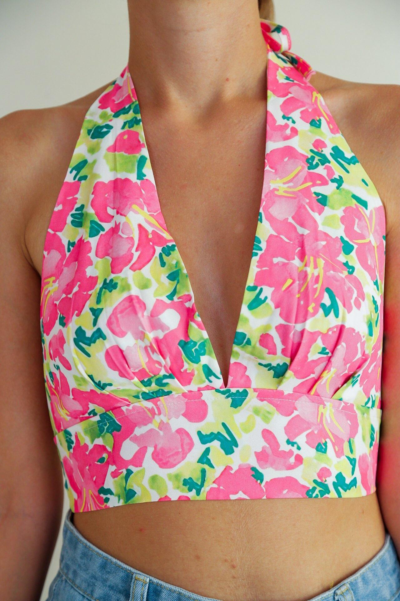 FSDA Floral Print V Neck Women Crop Top Halter Neck Backless ...