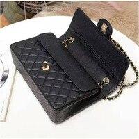 Luxus damen schulter tasche 2C klassische caviar leder doppel flap umhängetasche modische große kapazität 25,5 cm frauen handtasche