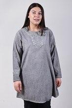 Women's Large Size Fronting Taşlamalı Gray Blouse 4035